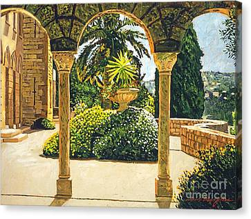 Villa On The Riviera Canvas Print by David Lloyd Glover