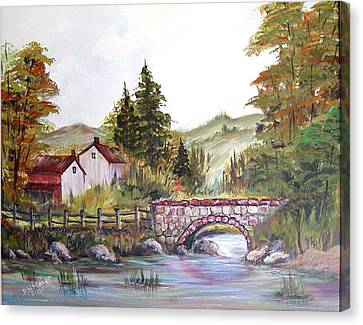 Canvas Print featuring the painting Village Bridge by Dorothy Maier
