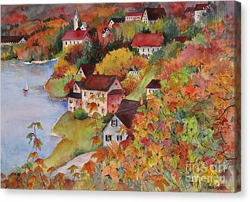 Village By The Sea Canvas Print by Sherri Crabtree
