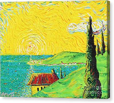 Village By The Sea Canvas Print by Stefan Duncan