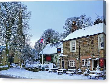 Village Church And Pub Canvas Print by David Birchall