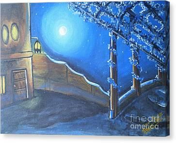 Village Compound Moon Light Canvas Print by Artist Nandika  Dutt