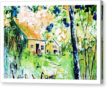Prussian Blue Canvas Print - Village D'antan by Aline Halle-Gilbert