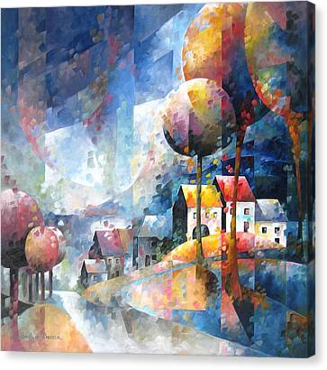 Inspirational. Pointillism Canvas Print - Village De Wallonie by Beatrice BEDEUR