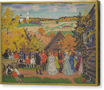 Village Festival Canvas Print by Boris Mikhailovich Kustodiev