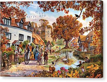 Village In Autumn Canvas Print by Steve Crisp