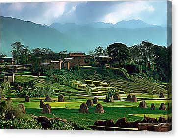 Village In Nepal Canvas Print by Wernher Krutein