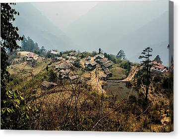 Village In Sikkim Canvas Print by Helix Games Photography