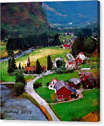Canvas Print featuring the painting Village In The Mountains by Bruce Nutting
