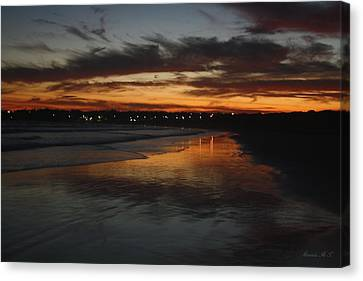Canvas Print featuring the photograph Village Lights At Sunset by Amanda Holmes Tzafrir