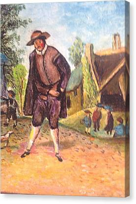 Canvas Print featuring the painting Village Man  by Egidio Graziani