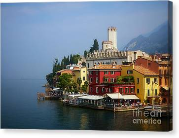 Village Near The Water With Alps In The Background  Canvas Print