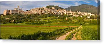 Village On A Hill, Assisi, Perugia Canvas Print