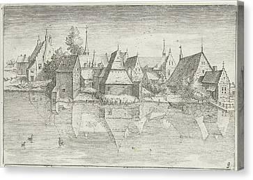 Village On A River, Hendrick Hondius Canvas Print by Hendrick Hondius (i) And Josse Van Liere