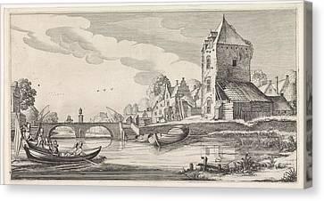 Village On A River, Jan Van De Velde II Canvas Print by Jan Van De Velde (ii)
