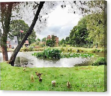 Village Pond Watercolor Canvas Print by John Edwards