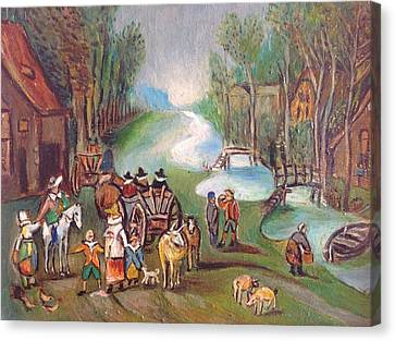 Village Scene Canvas Print by Egidio Graziani