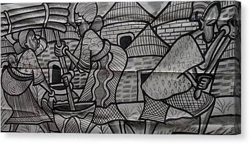 Village Scene Episode Two On Black And White Painting. Canvas Print