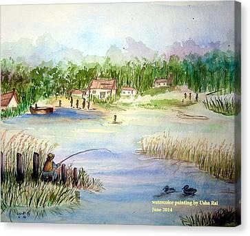 Village Scene Canvas Print by Usha Rai