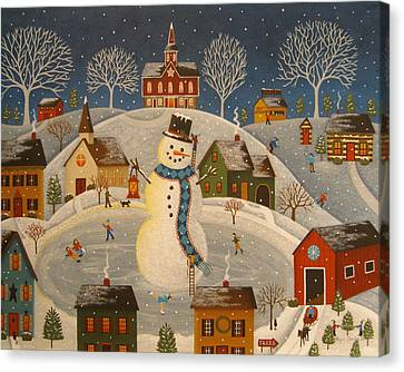 Village Snowman Canvas Print by Mary Charles
