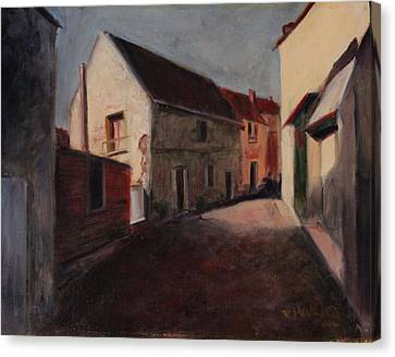 Canvas Print featuring the painting Village Street by Rosemarie Hakim