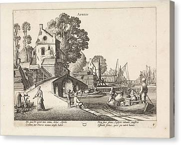 Village View With Activity On The Water April Canvas Print by Jan Van De Velde (ii)