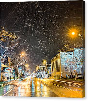 Village Winter Dream - Square Canvas Print by Chris Bordeleau