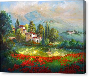 Village With Poppy Fields  Canvas Print
