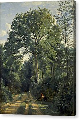 Ville Davray Entrance To The Wood, C.1825, Oil On Canvas Canvas Print by Jean Baptiste Camille Corot