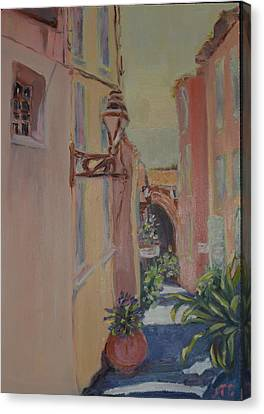 Canvas Print featuring the painting Ville Franche by Julie Todd-Cundiff