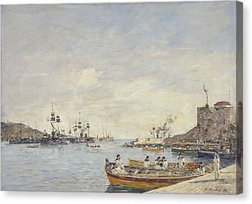Villefranche Harbor, 1892  Canvas Print by Eugene Louis Boudin