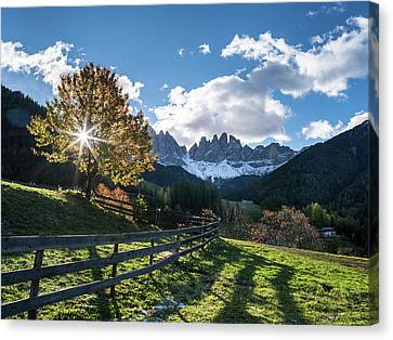 Villnoess Valley In The Dolomites Canvas Print