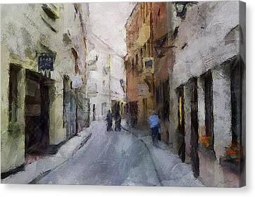 Vilnius Old Street Walk 3 Canvas Print by Yury Malkov