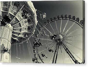 Vintage Carousel And Ferris Wheel Bw At The Octoberfest In Munich Canvas Print