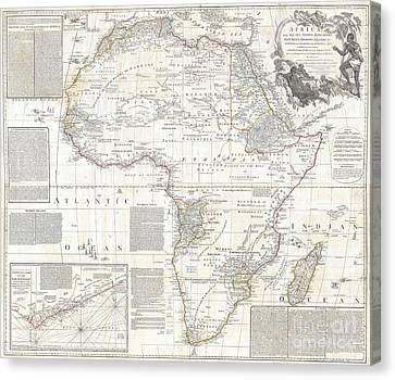 Vinatge Old World Map Of Africa Canvas Print by Inspired Nature Photography Fine Art Photography