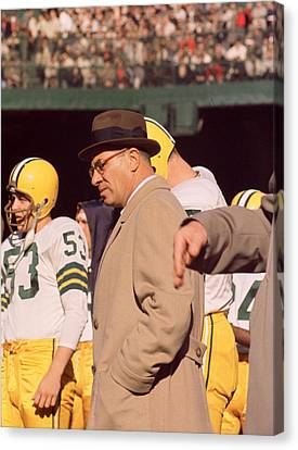 Vince Lombardi In Trench Coat Canvas Print by Retro Images Archive