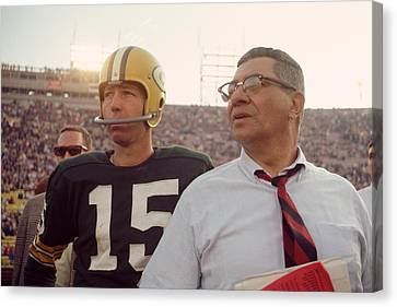 Football Canvas Print - Vince Lombardi With Bart Starr by Retro Images Archive