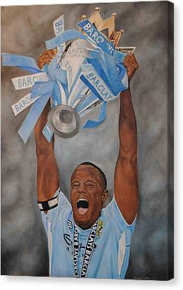 Canvas Print featuring the painting Vincent Kompany by David Dunne