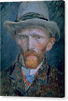 Vincent Van Gogh Self-portrait Bust With Brown Jacket And Gray Hat Canvas Print by Vincent Van Gogh