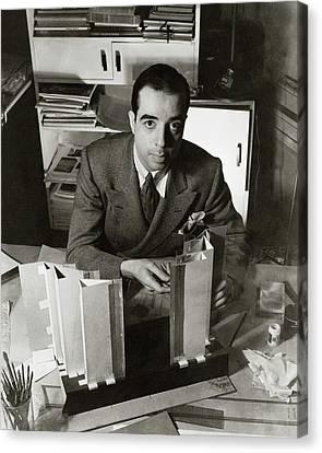 Cardboard Canvas Print - Vincente Minnelli Sitting At His Desk by Lusha Nelson