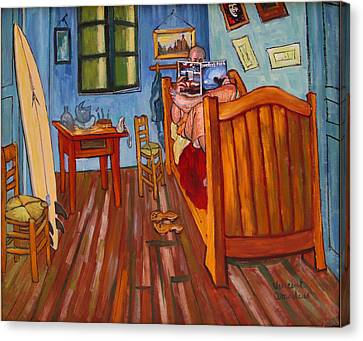 Vincents Bedroom In Arles For Surfers-amadeus Series Canvas Print by Dominique Amendola