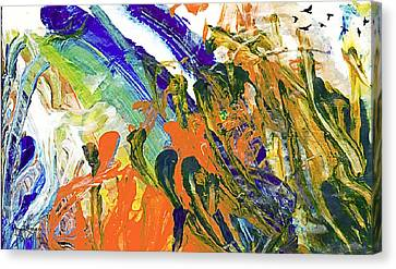 Canvas Print featuring the painting Vincent's Birds by Ron Richard Baviello