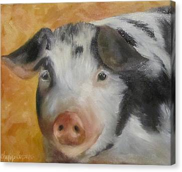 Canvas Print featuring the painting Vindicator Pig Painting by Cheri Wollenberg