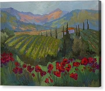 Vineyard And Red Poppies Canvas Print by Diane McClary