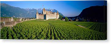 Wine Scene Canvas Print - Vineyard In Front Of A Castle, Aigle by Panoramic Images