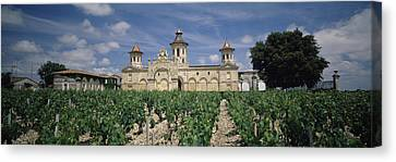Winemaking Canvas Print - Vineyard In Front Of A Castle, Chateau by Panoramic Images