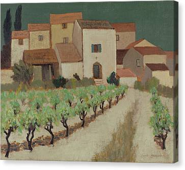South Of France Canvas Print - Vineyard, Provence Oil On Canvas by Eric Hains