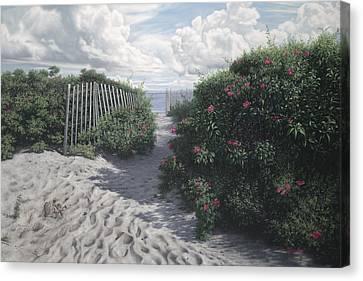 Vineyard View Roses Canvas Print by Julia O'Malley-Keyes