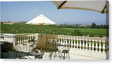 Vineyards Terrace At Winery Napa Valley Canvas Print by Panoramic Images