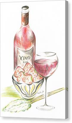 Vino With Strawberries Canvas Print by Teresa White